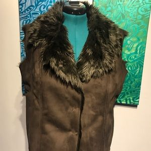 Faux brushed suede faux fur lined vest